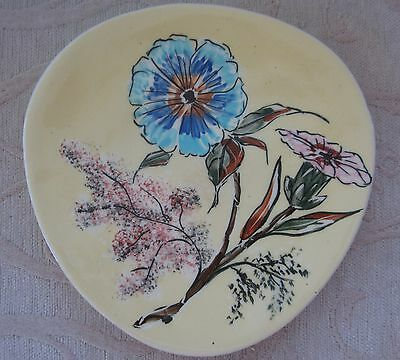 retro vintage STUDIO ANNA hand painted porcelain DISPLAY PLATE - flowers