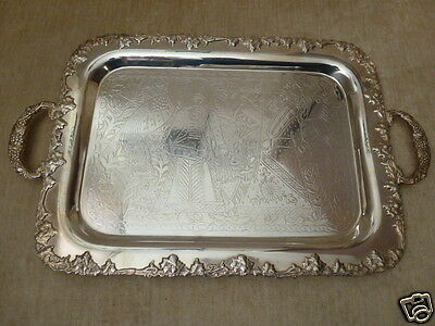 Sheffield Silver Plate Ornate GRAPES LEAVES Handled Serving Tray Holy Men Birds
