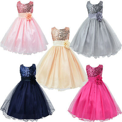 Xmas Fancy Princess Girls Sequins Flower Party Gown Bridesmaid Prom Dresses