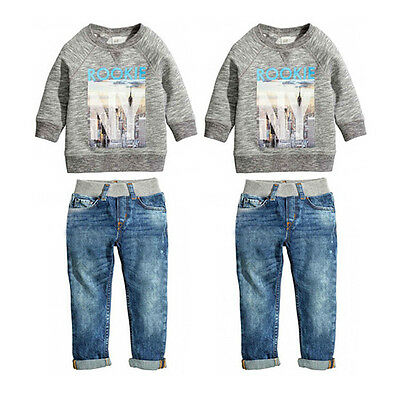 2pcs Baby Kids Boys Autumn Cotton Coat Shirt Sweater + Jeans Denim Pants Outfits