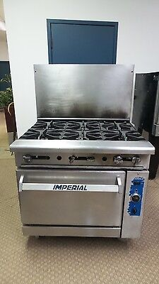 """Imperial Gas Range Commercial 36"""" 6 Burner With Convection Oven"""