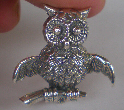 Owl Of Wisdom Silver Brooch Pin - Goddess Athena Symbol - Ancient Greece