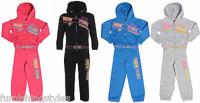 Boys Girls Kids Jogging Suits Track Suit Hooded Top Jogging Bottoms Age 1 To 6