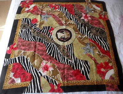 "Pure Silk Scarf Made Italy Animal Print Stylised Flowers 86 X 86 Cm 34"" X 34"""