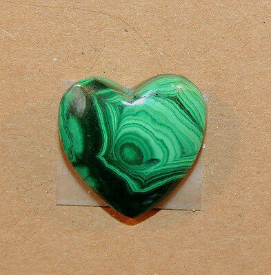 Malachite Heart 19x19mm with 8mm thick top drilled from Africa (9508)