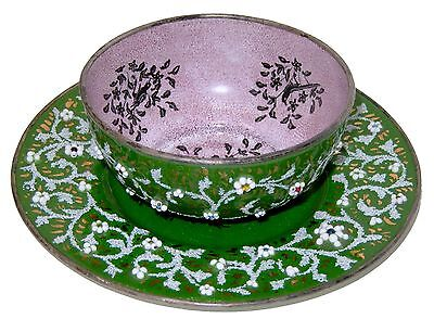 French Jeweled Enamel Copper Finger Bowl & Saucer Plate Antique Kiln Fired