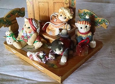 CALICO KITTENS, Christmas Set of 4 with Retail Displayer, What the Cat DraggedIn