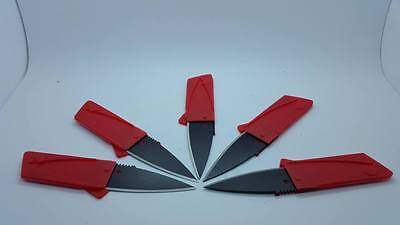 5 RED Credit Card Knives folding wallet thin pocket survival micro knife