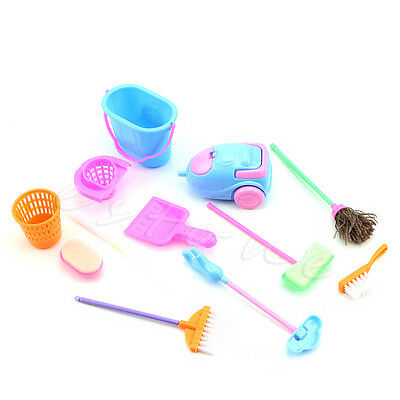 Mini 9Pcs Cleaning Cleaner Kit Home Furniture Furnishing For Barbie Doll House