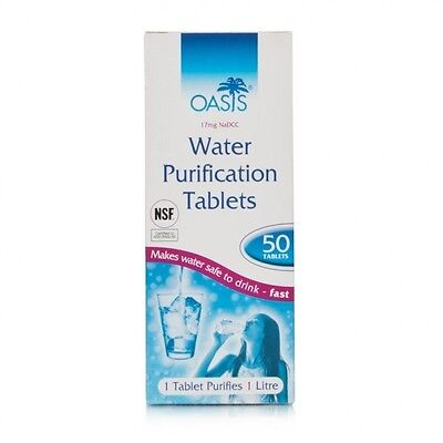 Oasis Water Purification tablets 17mg survival travel ARMY - long expiry 04/2020