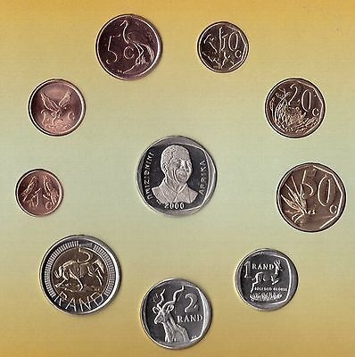 South Africa – 10 Dif Unc Coins Rare Set: 0.01 - 5 Rand 2000 Year Nelson Mandela