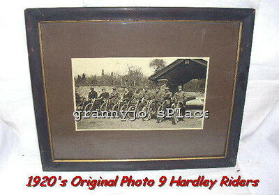 1920s Original Photograph of  9 Harley Davidson Motorcycles and Riders