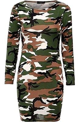 Sexy Women Ladies Camouflage Army Print Long Sleeve Dress Top Size 8-10,12-14