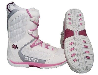 Youth / Women Snowboard Boots 5150 Fifty One Fifty Brigade Size 6 White/Pink NEW