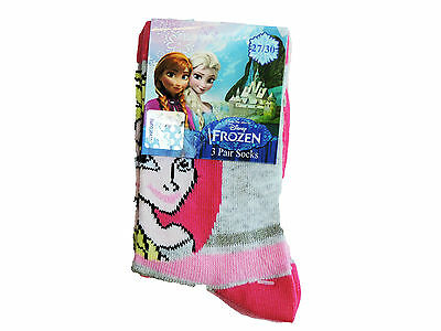 Girls Disney Frozen 3 pack socks (stripe)/cotton socks