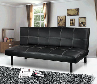 Foldable Sofa Bed Couch Modern Leather 3 Seater Guest Living Room Black Sleeping