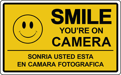 SMILE YOU'RE ON CAMERA Sign Security Video Surveillance Spanish Retail Store