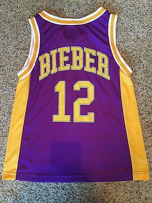 JUSTIN BIEBER SWAGGY #12 BASKETBALL JERSEY YOUTH Small LAKERS COLOR CONCERT