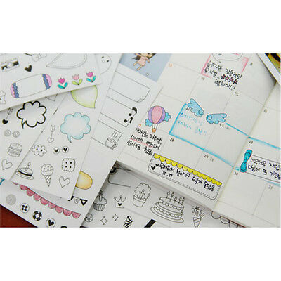 12 Sheets Cartoon Diary Planner Decor Calendar Scrapbook Paper Sticker Calendar