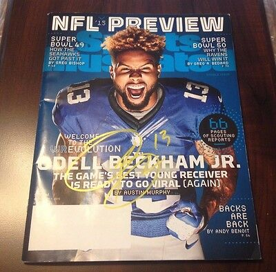 Odell Beckham Jr Auto  Nfl Preview Magazine Front Cover Auto W/coa