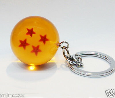 New Dragon Ball Z DBZ Cosplay Crystal Ball 4 Stars Keychain Keyring Pendant