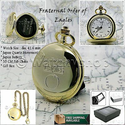 Rare Fraternal Order of Eagles Gold Quartz Pocket Watch Gift Fob Chain Box C35