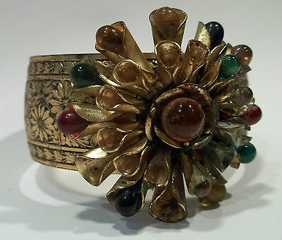 Vintage Poured Glass Bracelet HUGE Flower Spray Etched VERY EARLY 1900 Amazing