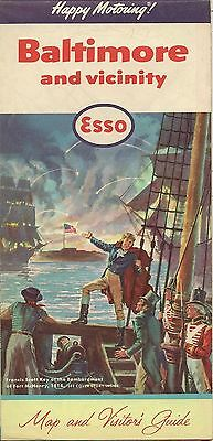 1960 ESSO HUMBLE OIL Road Map BALTIMORE Maryland Francis Scott Key Fort McHenry