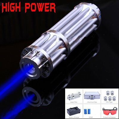 5MW High Power Blue Laser Pointer Pen Burn Visible Military Charger Battery Beam