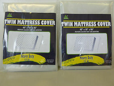 """Twin Size Mattress Bag 2 Pack Plastic 40""""x10""""x86  Moving Supplies 2.5 Mil Thick"""