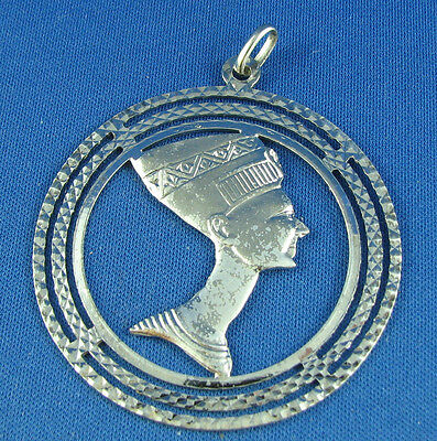 Vintage Sterling Silver Queen Nefertiti Egypt Charm Pendant mark SQ 2 inches