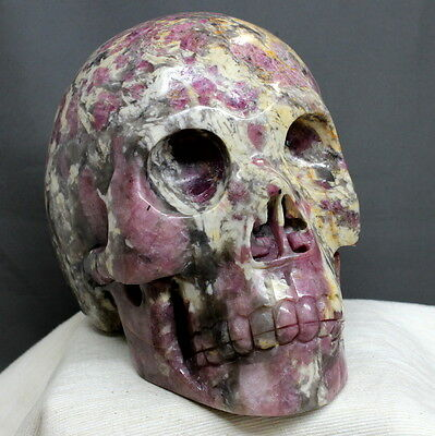 "7.7"" Huge Natural Lepidolite Watermelon Tourmaline Skull Carving Stone, Scl18"