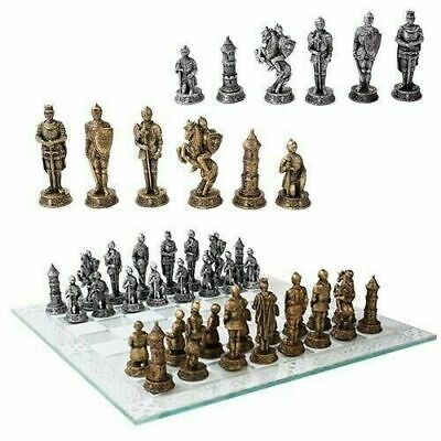 Medieval Age Of Knights & Kings Resin Chess Pieces With Glass Board Set Figurine
