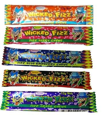 Bulk Lollies 120 x Wicked Fizz Chews Assorted Flavours Candy Sweets Favors