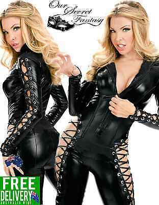 Sexy Black Wet Look Front Zip Side Lace Up Catsuit Lingerie OS 8-12 (B1015)