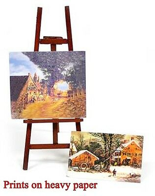 """Miniature NATURAL (stained) WOOD Artist EASEL with 2 Paintings 5"""" x 2"""" Dollhouse"""