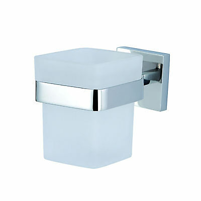 Square Glass Tumbler Toothbrush Holder 304 Stainless Steel Wall Mounted Bathroom