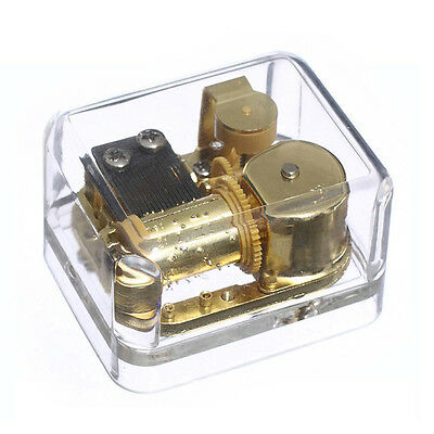 18 Note Acrylic Windup Clockwork Gold Mechanism Music Box Many Songs for Choose