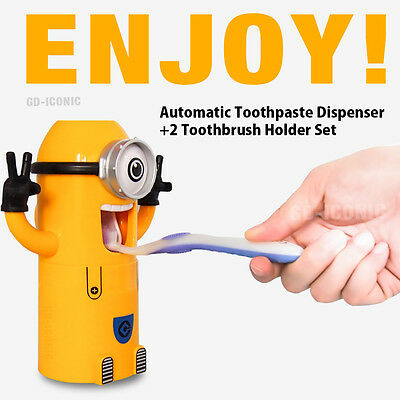 Despicable Me Minions Automatic Toothpaste Dispenser Toothbrush Holder set 1 eye