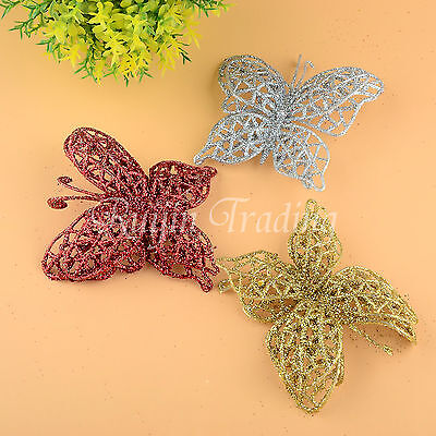 10 Pcs Glitter Hollow Butterfly Christmas Xmas Tree Decor Wedding Party Ornament