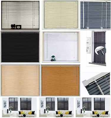 Easy Fit PVC Venetian Window Blind Blinds Black Cream Teak White Slate Long Drop