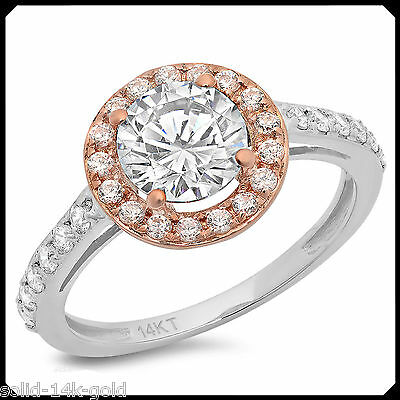 Ann 2.35CT Diamond VVS1 D Solid 14K White Rose GOLD Engagement Wedding Halo Ring