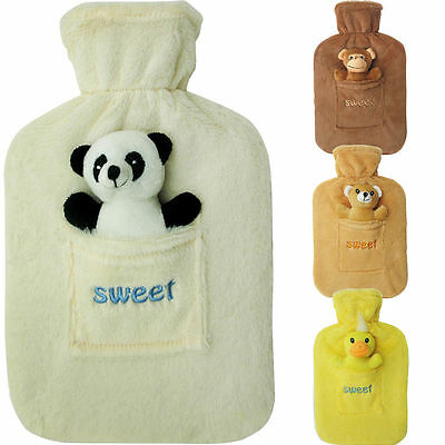 2L Large Rubber Hot Water Bottle With Warm Fleece Fur Animal Cover 2 Litre New