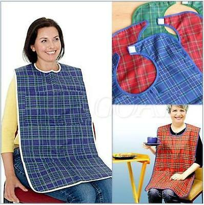 Large Waterproof Adult Mealtime Bibs Apron Protector Disability Dining Aid 266