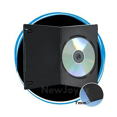 100 Black 7mm Slim Single CD DVD Movie Case Storage Box Wholesale