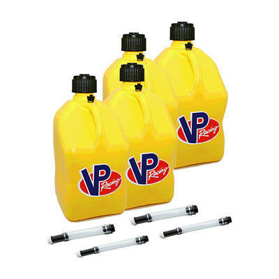4 Pack VP Racing Yellow 5 Gallon Square Fuel Jug/4 Deluxe Hoses/Water/Gas Can