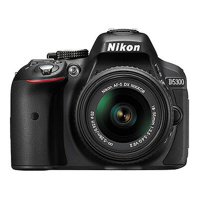 Nikon D5300 Digital SLR Camera 24.2MP with 18-55mm VR AF-P DX Lens Black NEW