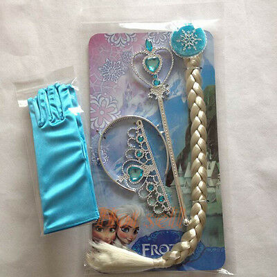 Frozen Princess Elsa Costume Cosplay Crown Wand Braid Wig Gloves for Girls