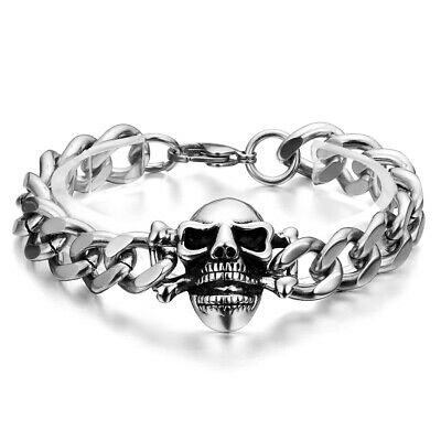 Mens Silver Black Stainless Steel Gothic Vintage Skull Bracelet Cuban Curb Chain