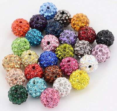 Wholesale lot micro pave disco crystal 29 colors shamballa beads bracelet spacer
